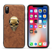 XR XS Gothic Style Case For IPhone XS 10S Max XR 10R X 10 8 7 6 6S Plus Case 3D Metal Matte Leather Back Cover For Apple X R S