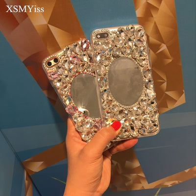 XSMYiss 3D Luxury Big Rhinestone Diamond Mirror Soft TPU Cover Case For Iphone X 6 6Splus 7 7plus 8 8plus Bling Case