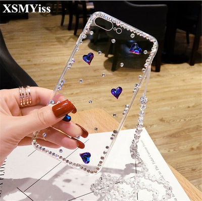 XSMYiss 3D Luxury Bling Crystal Rhinestone Cases For Samsung S4 S5 S6 S7 Edge S8 S9 Plus Note 3 4 5 8 9 Diamond Case Cover