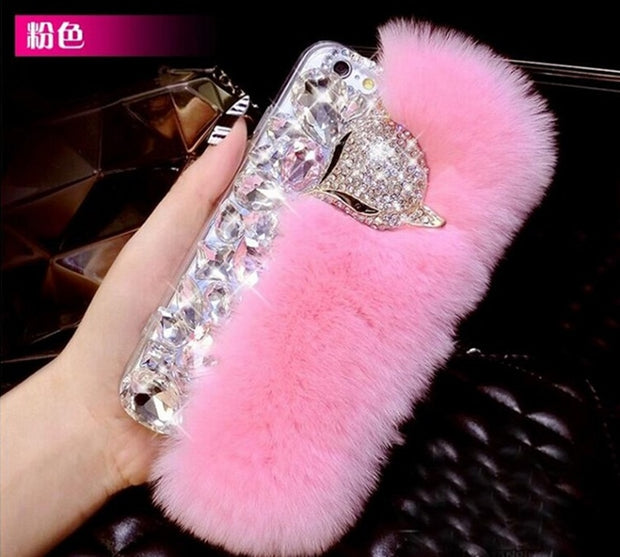 XSMYiss Big Diamond Real Fur Soft Cover Case For Samsung S5 S6 S7edge S8 S9plus Note3 4 N5 N8 Top Quality Bling Rhinestone Case