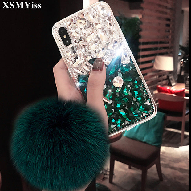 Rhinestone Cases Cellphones & Telecommunications Hearty For Samsung J3 J5 J7 2016 2017 Prime Pro J4 J6 Plus Crystal Crown Back Cover Bling Rhinestone Fox Fur Ball Pom Soft Phone Case