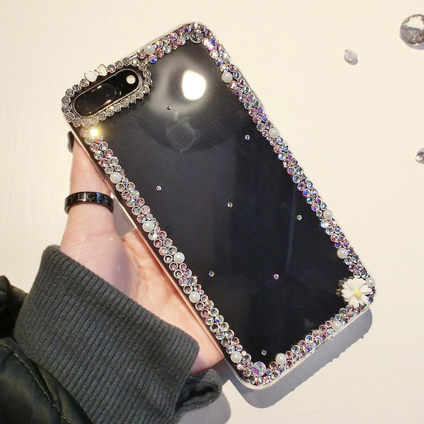 XSMYiss Bling Rhinestone Crystal Diamond Soft Back Phone Jewelled Case Cover For IPhone Xs Max 5 SE 5C 6 6S 7 8 Plus