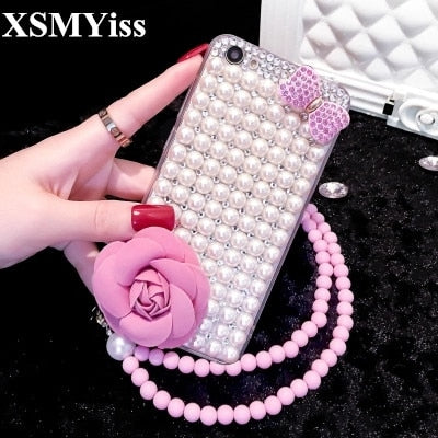 XSMYiss For Huawei P8 P9 P10 P20 Lite Plus Mate 8 9 10 Pro Glitter Pearl Rhinestone Bow Phone Case Shine Soft Diamond Back Cover