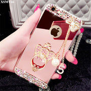 XSMYiss For Samsung Galaxy S3 S4 S5 S6 S7 S8 S9 Edge Plus Note N3 N4 N5 N8 Case ,Luxury Diamond Silicone Mirror Ring Case