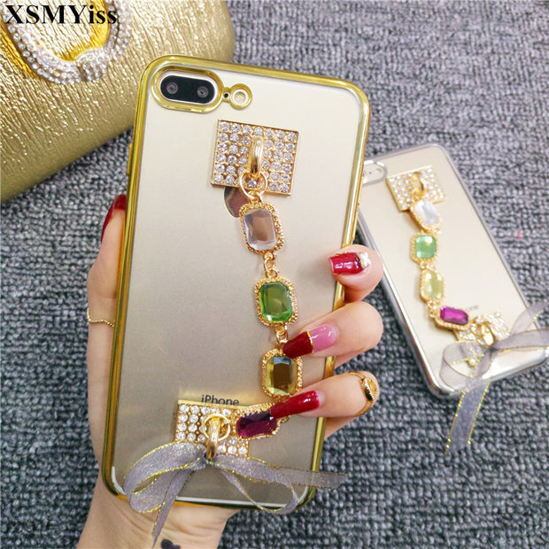 XSMYiss For Iphone X 8/8 Plus For IPhone 7 Plus Luxury Diamond Soft Bracelets Case For IPhone 6 6S Plus Case