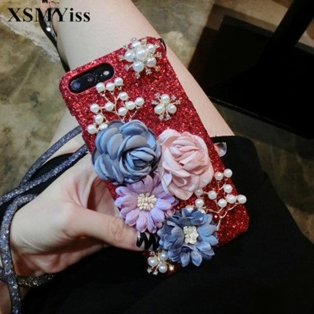XSMYiss Luxury 3D Pearl Camellia Flowers Cloth Flower Silicone Installed Case Cover For IPhone X 6 7 8 6SPlus 7plus 8Plus