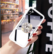 XSMYiss Luxury Lady Diamond Bling Soft Mirror Airbag Bracket Case For IPhone 6 6s 7 8 Plus X XR Xs Max Cover Case Shell