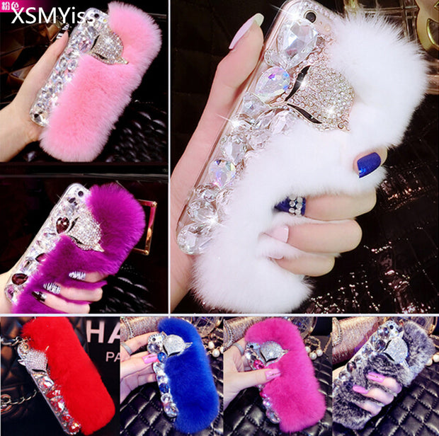 XSMYiss New Big Rabbit Fur Soft Cover Case For Huawei Honor 8 Lite Pro 9 V10 7X Y7 Prime Nova 2 Plus 2S Bling Rhinestone Case