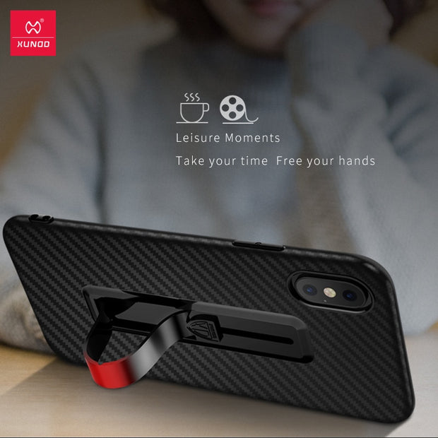 XUNDD Skin Like Retractable Ring Holder Phone Case For IPhone X XS Max XR Twill Carbon Fiber Modern Design Vision