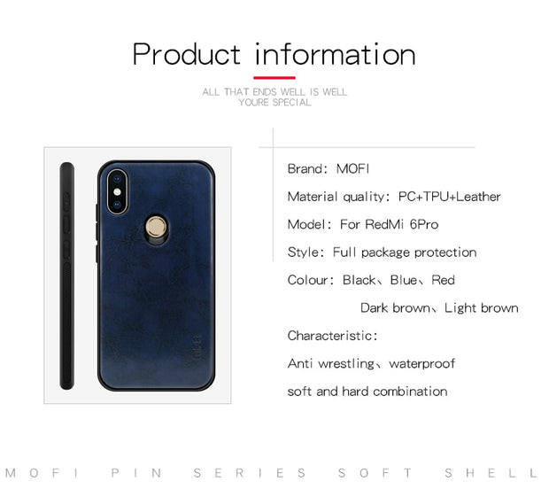 Xiaomi Mi A2 Lite Case Cover Xiaomi A2 Lite Back Cover Silicone Leather Skin Soft TPU Silicone Case MOFi Original Mi A2 Case