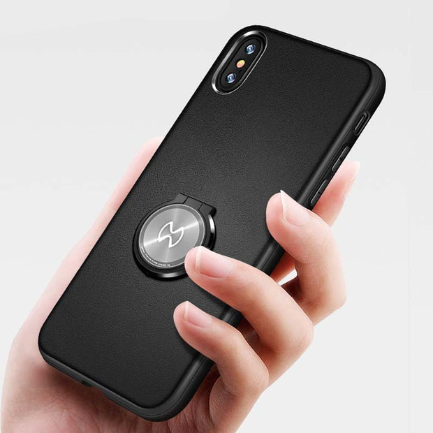 Xundd For IPhone X 7 8 Plus Case Magnetic Car Holder Stand Finger Ring Soft TPU+PU Leather Back Cover For IPhone 8 Plus X 7 8