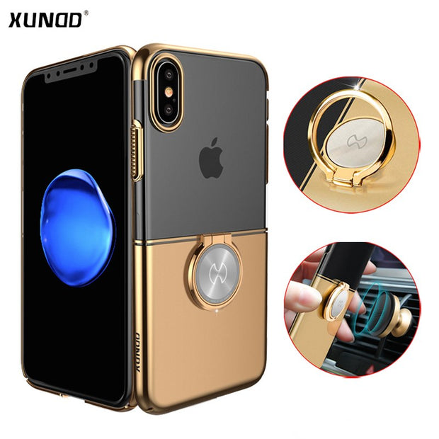 Xundd Luxury Ring Holder Case For IPhone XS Max XR XS Clear Hard PC Back Cover For IPhone XS Max XR Fit For Magnetic Car Holder