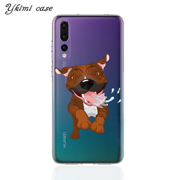 Ykimi Case For Huawei P8 P9 Lite 2017 P20 Lite Pro Case Super Cute Cartoon Dog Cover Transparent Soft Silicone TPU Capa