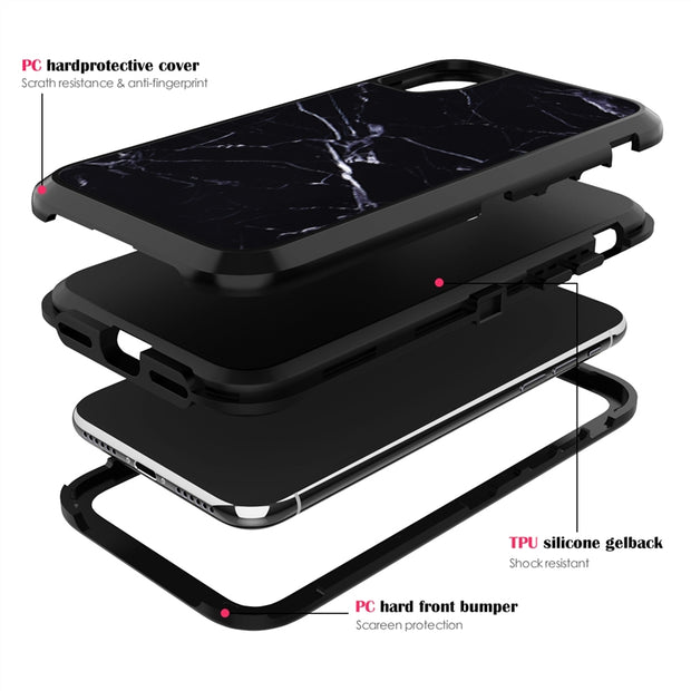 Yokata 3 In 1 Hard Pc Case For Iphone 6 6s Plus Cover For Flamingo Black White Marble Best Protection Coque For Iphone X Funda