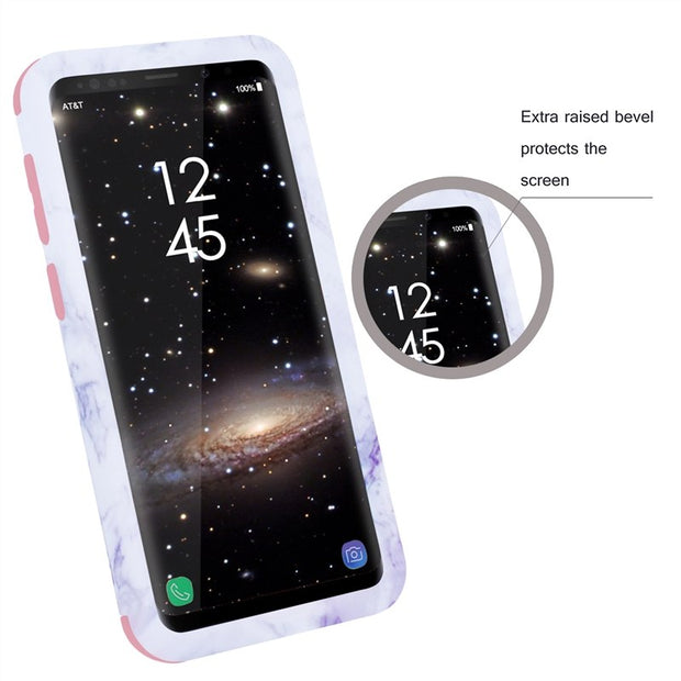 Yokata Luxury Hard Pc Silicone Case For Samsung S9 S9 Plus Marble Matte Ultra Thin Degree Protection Slim 3 In 1 Anti-scratch