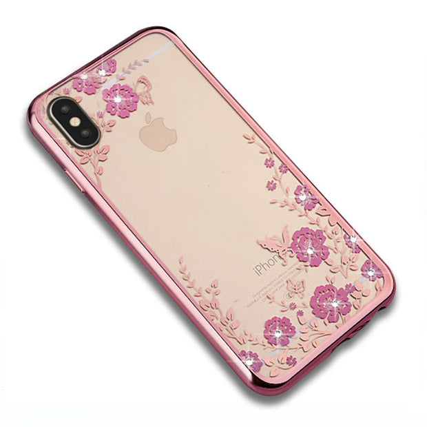 YueTuo Luxury Original Rose Gold Tpu Silicone Phone Case For Apple Iphone X 10 Silicon Soft Slim Glitter Coque Cover For IphoneX