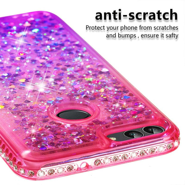 ZZCAJA Luxury Jewelled Diamond Fundas For Huawei P Smart Case Pink Glitter Shiny Dynamic Liquid Quicksand Cover For Enjoy 7S Bag