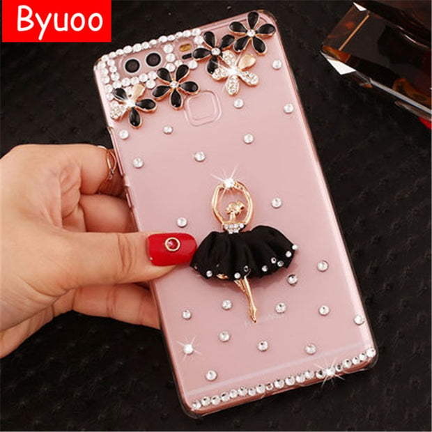 For Huawei P Smart Case Clear Diamond Cover Honor 10 6c Pro Cover 3d Bling Shell For Huawei P9 Lite Mini Y6 Pro 2017 Y6 Y9 2018
