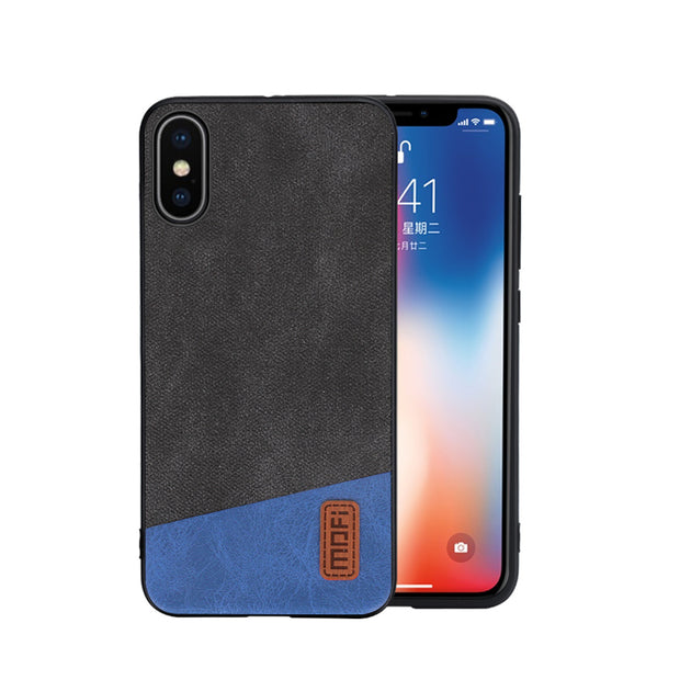 For IPhone XS Case Cover MOFI For Iphone XS Max Fabric Leather Back Cover Case For IPhone XR Full Cover Soft TPU Frosted Case