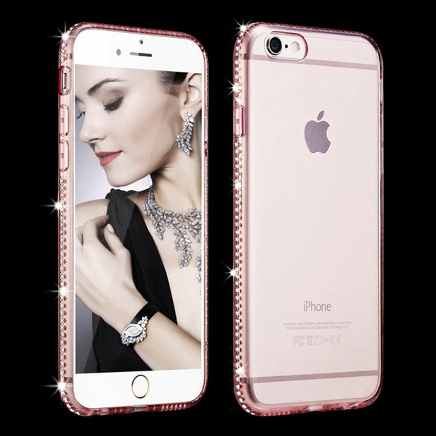 For Iphone 8 Plus Case Iphone XS Max 5 Glitter Silicon Rhinestone Cover Bling Case For Iphone 7 Plus Iphone XR X 6 6S Plus Case