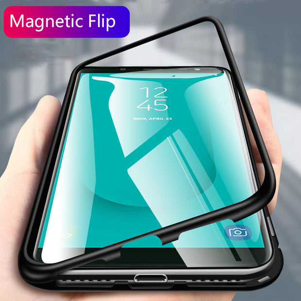 J6 2018 Case For Samsung J6 2018 Magnetic Flip Case For Galaxy J 6 2018 J62018 Back Cover Matel Frame Protective Coque Sm-j600f
