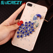 Luxury Women Phone Diamond House Bag For Iphone X XR XS Max Case Peacock Crystal Funda Coque For Iphone 6 6s 7 8 Plus Case Cover