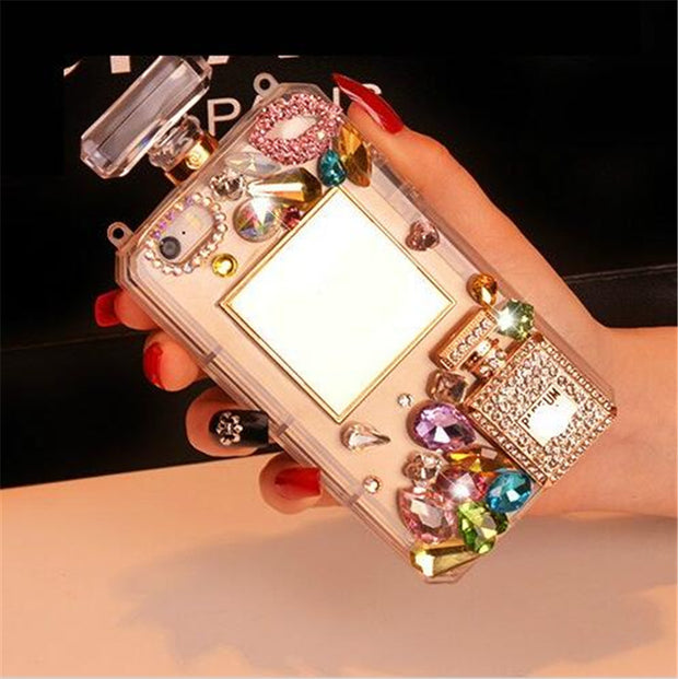 Perfume Bottle For IPhone 7 IPhone 7 Plus Silicon Case Shockproof Soft Rhinestone Diamond With Chain Phone Cover