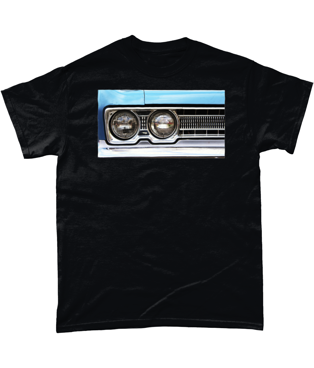 Blue Lights Vintage Car Heavy Cotton T-Shirt - ByCandlelight27