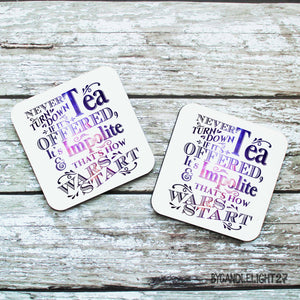 Never Turn Down Tea 8th Doctor Quote - Hardwood Coasters - ByCandlelight27