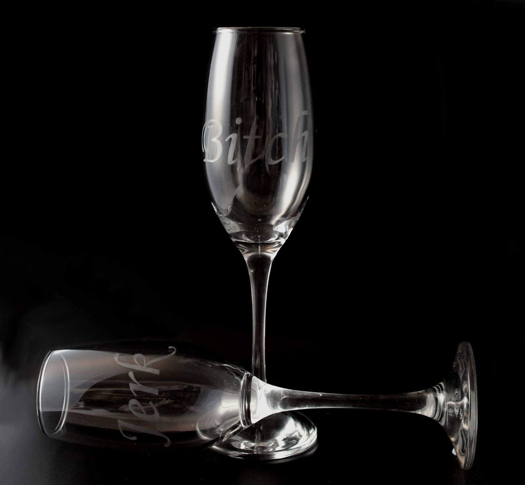 Bitch Jerk Champagne Flute set - ByCandlelight27