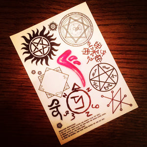 Supernatural - Temporary Tattoo Sheet - ByCandlelight27