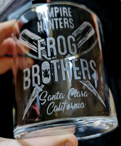 The Frog Brothers Lost Boys - Hand Drawn - Etched Glass Tumblers