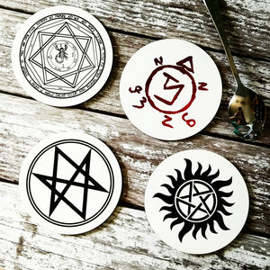 Supernatural symbols coaster set - ByCandlelight27