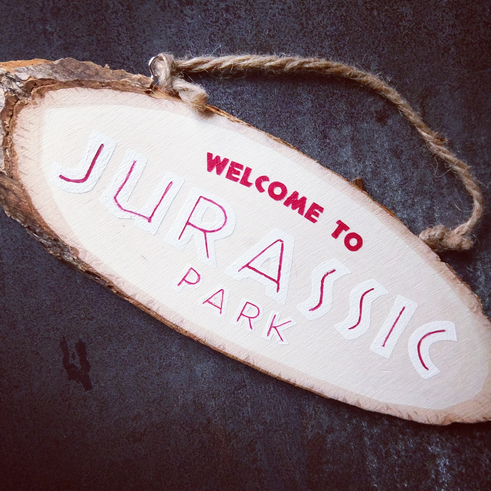 Welcome to Jurrasic Park Retro Wood Sign