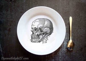 Human Skull - Ceramic Plate - ByCandlelight27