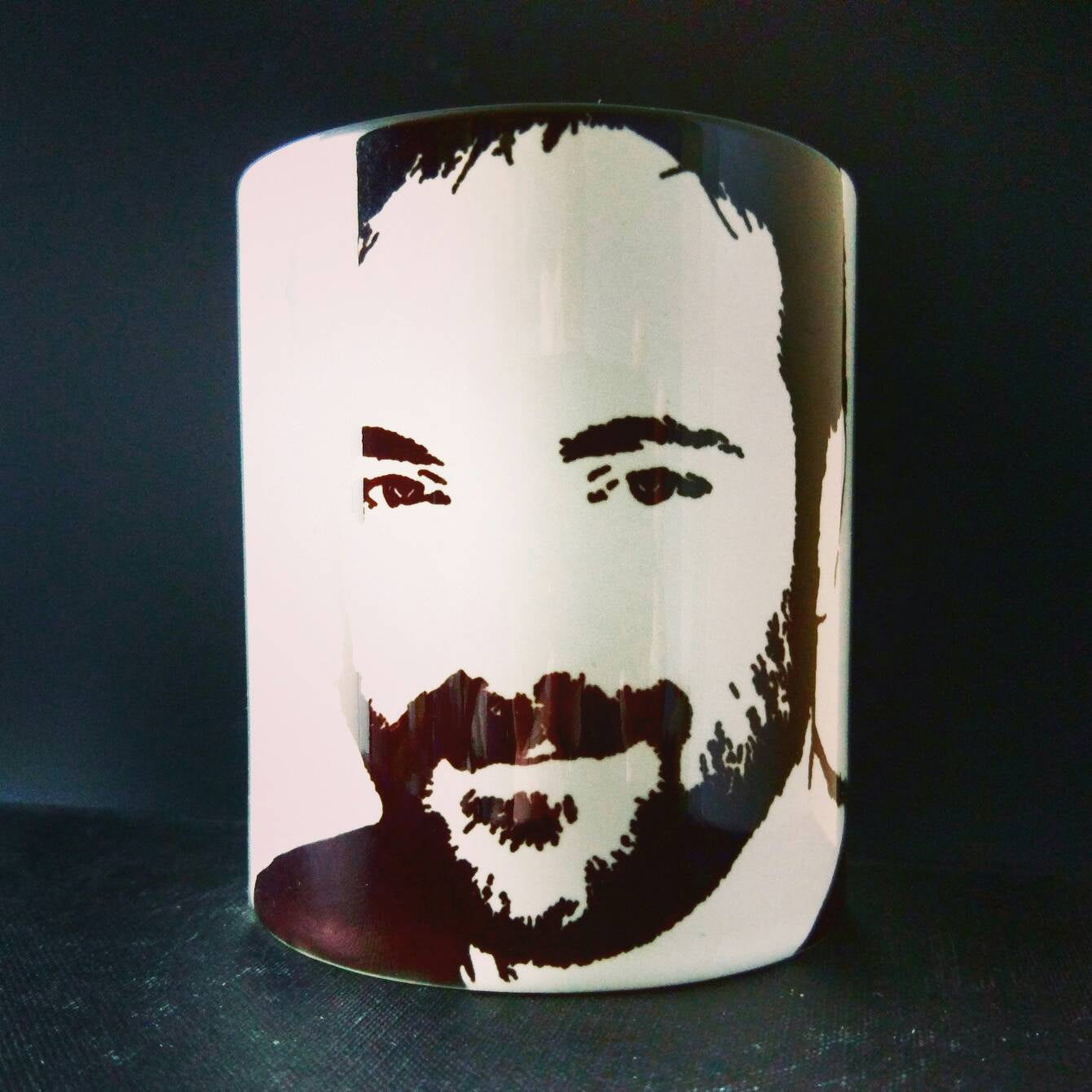 Mark Sheppard, Supernatural, Crowley, Doctor Who, Warehouse 13, White Collar, Leverage, hand printed Cup - ByCandlelight27
