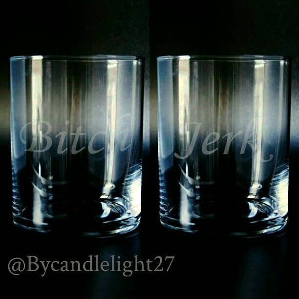 Bitch Jerk - Supernatural - Hand Drawn - Etched Glass set of 2 - Glasses Tumblers - ByCandlelight27