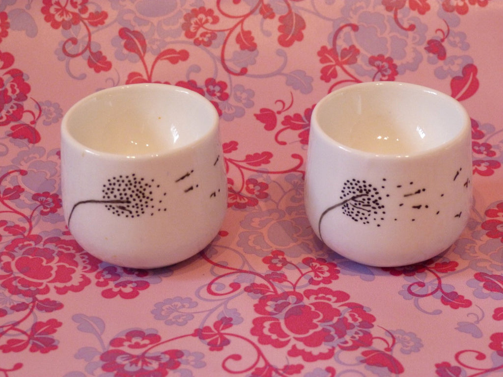 Hand Painted Dandelion, Fairy Wishes, Botanical, Egg Cup set of two - ByCandlelight27