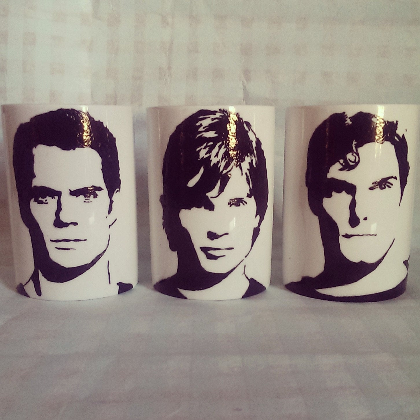 Henry Cavill, Tom Welling, Brandon Rough, Christopher reeves, Superman, Man of steel, superman returns Inspired Hand Printed Cup Set - ByCandlelight27