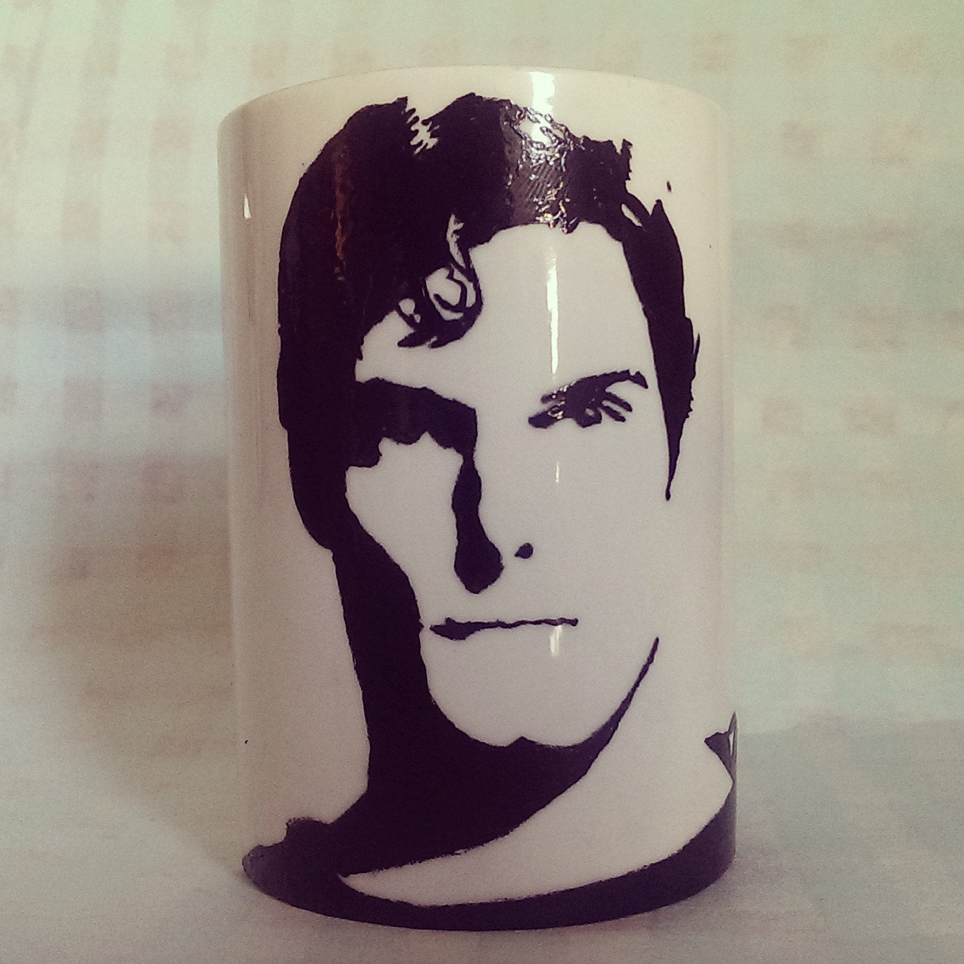 Christopher Reeves, Superman, Hand Painted, Hand Printed cup - ByCandlelight27
