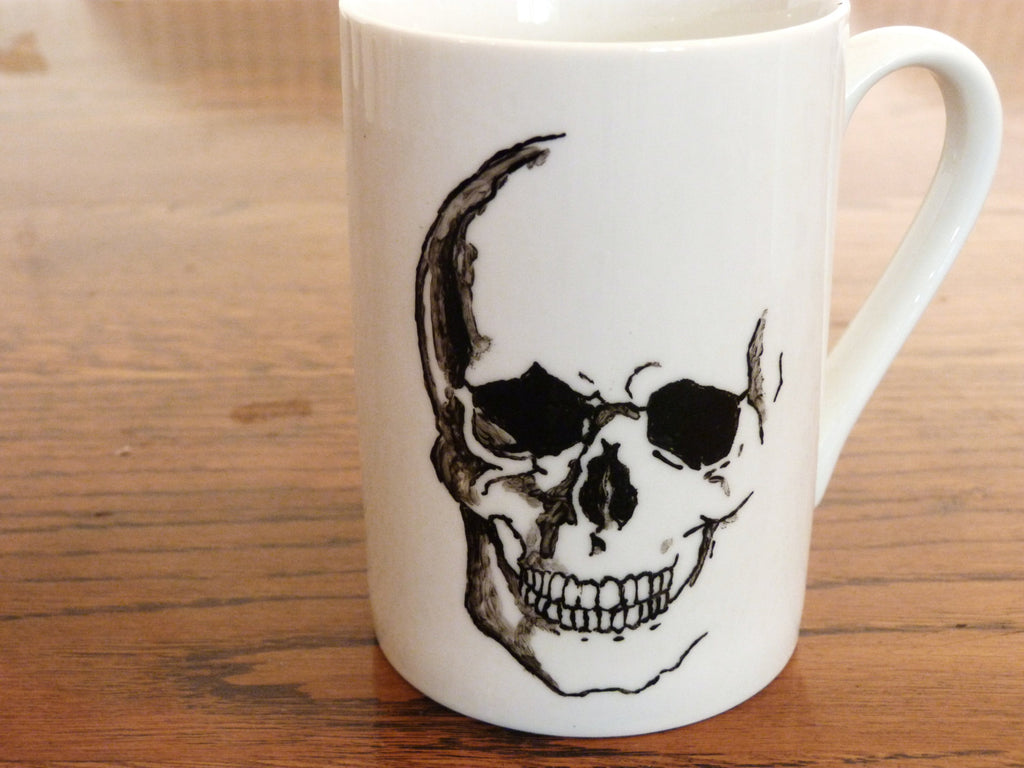 Anatomical Skull, Hand Printed, Hand Painted  cup - ByCandlelight27