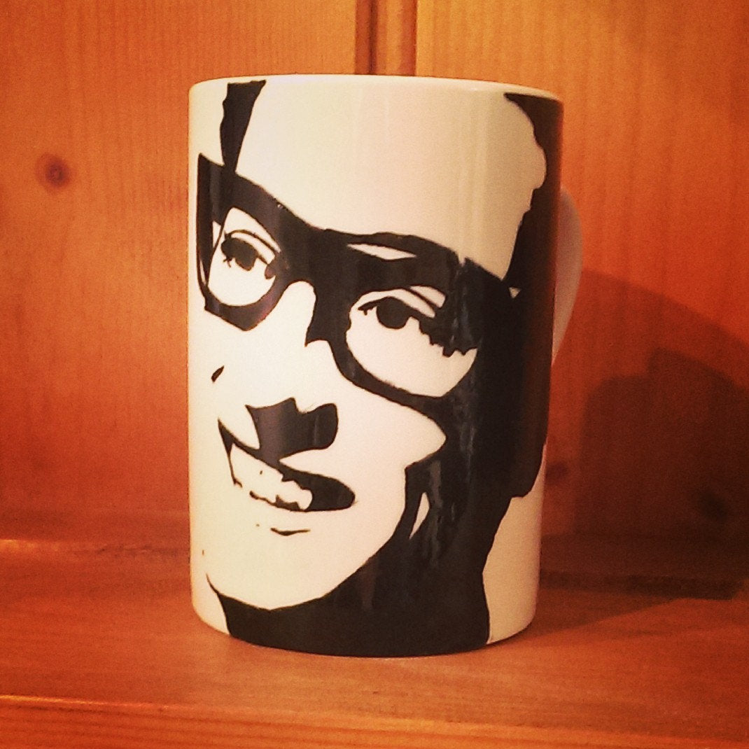 Buddy Holly, Hand Painted, Hand Printed Cup - ByCandlelight27