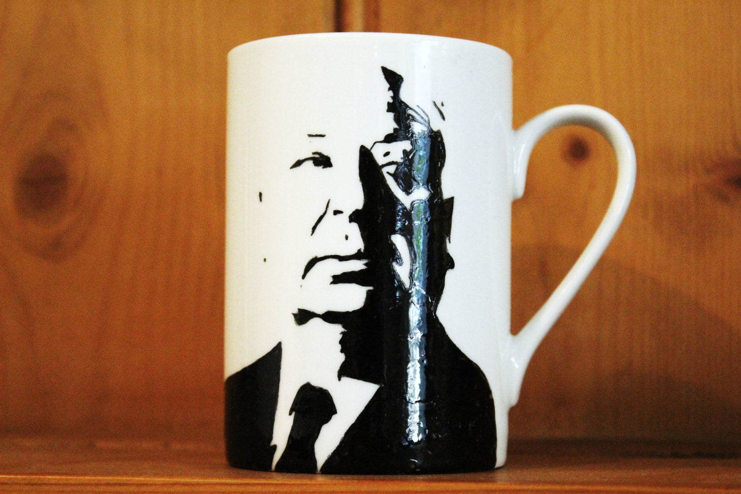 Alfred Hitchcock Hand Printed cup - ByCandlelight27