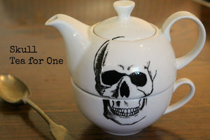 Hand painted One cup Tea Pot with skull design - ByCandlelight27