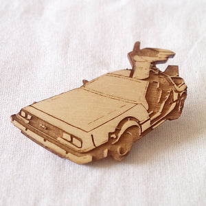 Limited Edition, DMC Delorian, Back To The Future Inspired, Time Travel, Time Machine, Classic Car, Lasercut Wood brooch - ByCandlelight27
