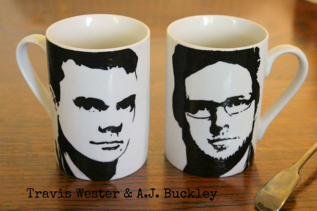 Travis Wester, AJ Buckley,Ghostfacers, Justified, Hand painted, Hand Printed, Cup Set