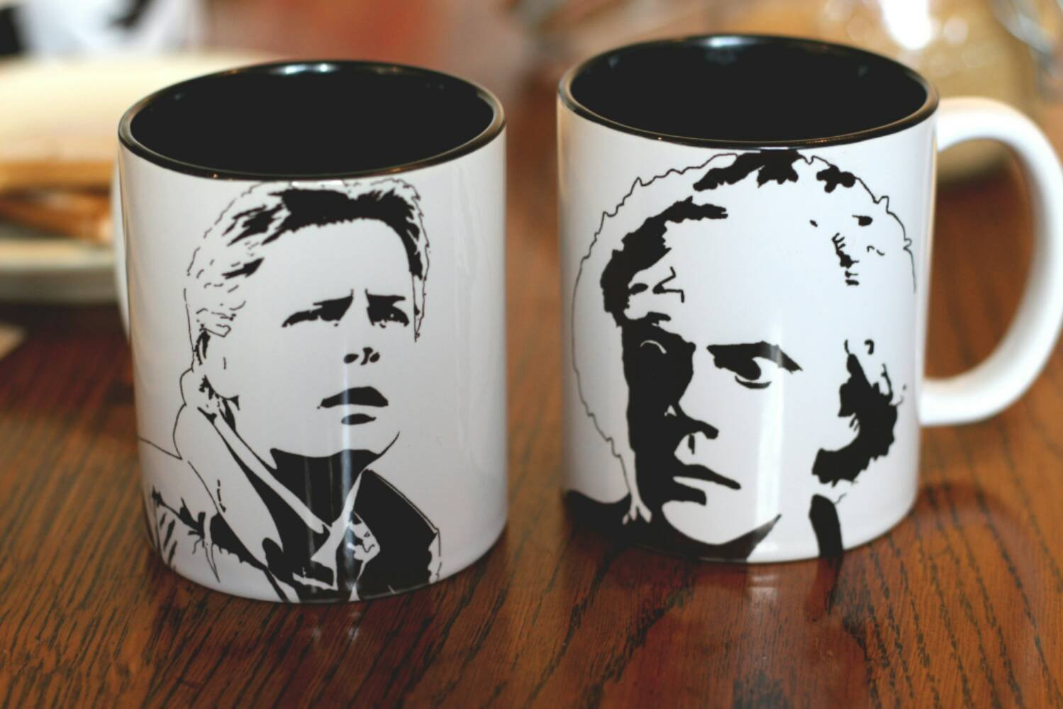 Marty McFly & Doc Brown Hand Printed cup set - ByCandlelight27