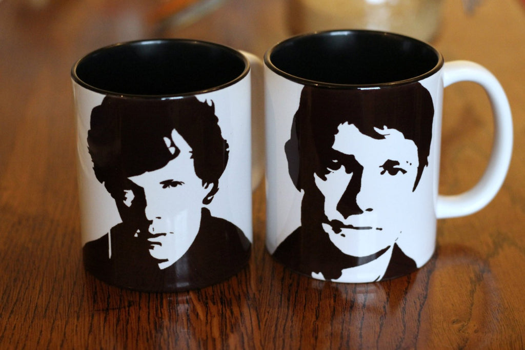 Benedict Cumberbatch and Martin Freeman set, sherlock Holmes, Doctor Watson Star Trek, Lord of the Rings, The Hobit, Hand Painted Cup Set - ByCandlelight27