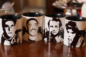 Ghostbusters - Ray Stanz - Peter Venkman - Egon Spengler - Winston Zeddemore - Hand Crafted Cup Set - ByCandlelight27