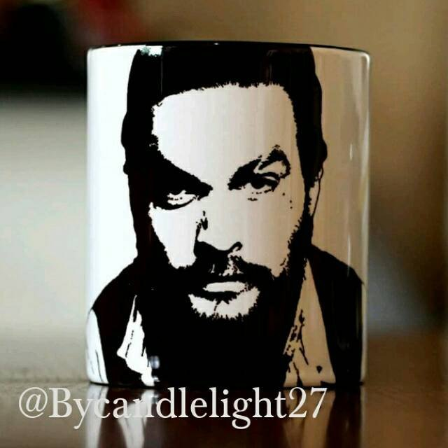 Jason Momoa, Aquaman, Game of thrones, Stargate Atlantis, Conan the Barbarian, Hand Printed cup. - ByCandlelight27
